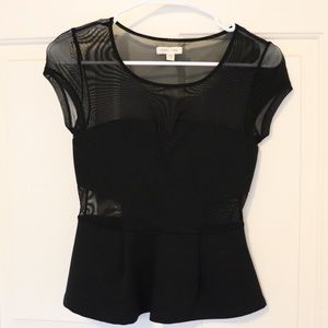 Silence + Noise Black Mesh Peplum Top